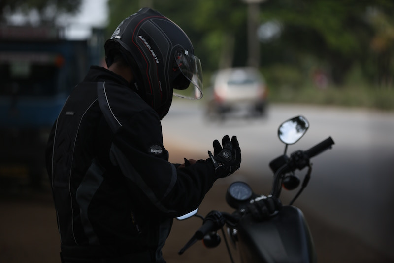 man wearing motorcycle gear