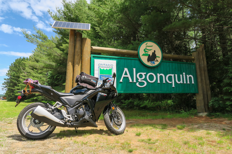 riding motorcycle through Algonquin park