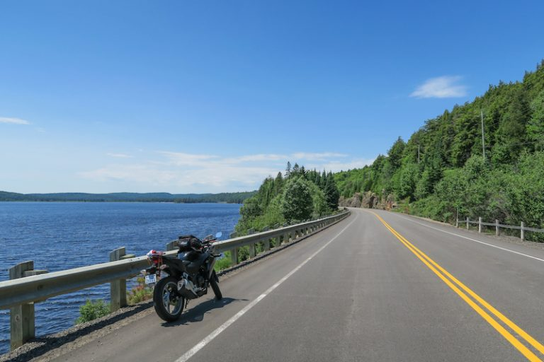 stopping for motorcycle photos in algonquin park