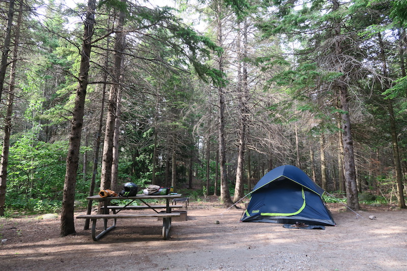 My motorcycle camping Campground at the Bruce peninsula National Park near Tobermory Ontario