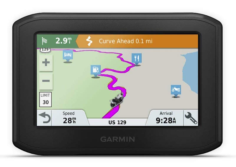 The Garmin Zumo 396 with an example of how the GPS map would look if you were riding somewhere
