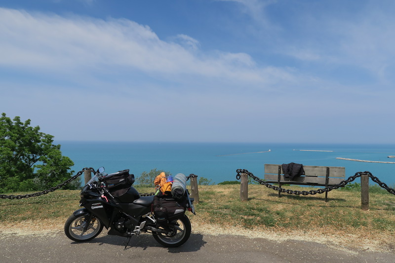 enjoying the view of lake huron on my motorcycle trip