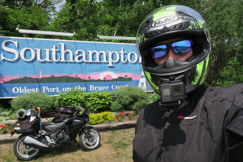 The Southampton sign on Highway 6 North in Ontario on the way to Tobermory. I stopped to take this selfie on my motorcycle trip to the Bruce peninsula