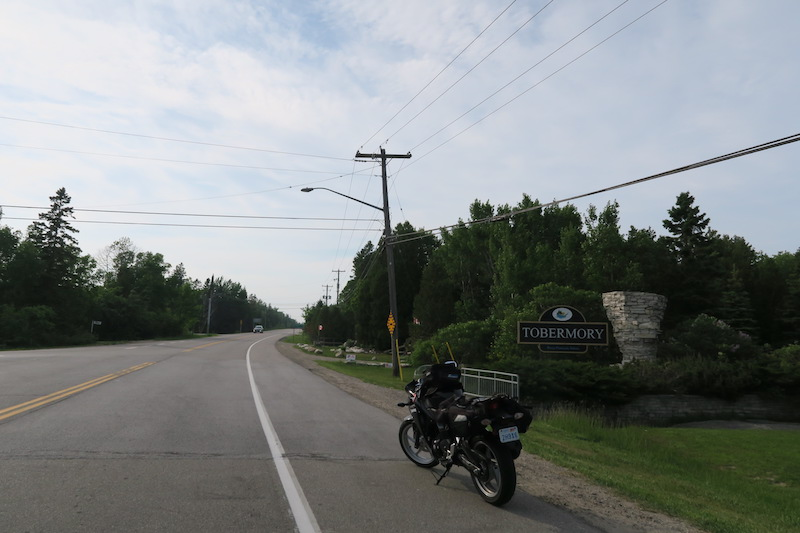 stopped taking a photo of my cbr250r at the tobermory sign