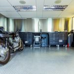 motorcycle garage and workspace