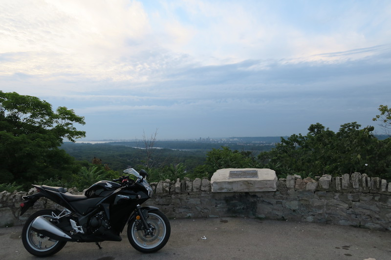 sydenham lookout with a motorcycle