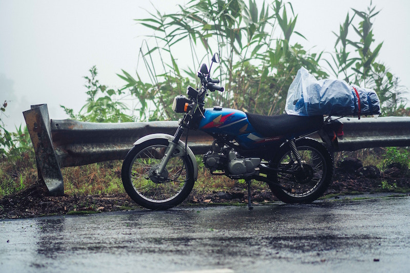 honda motorcycle in the rain