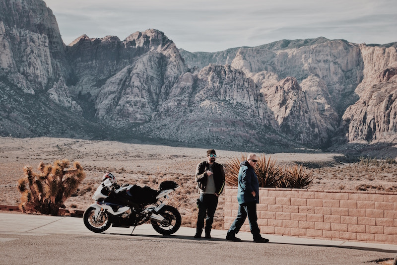 motorcycle in front of mountains