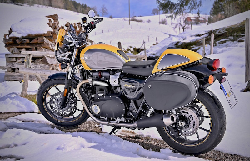 triumph motorcycle in the winter
