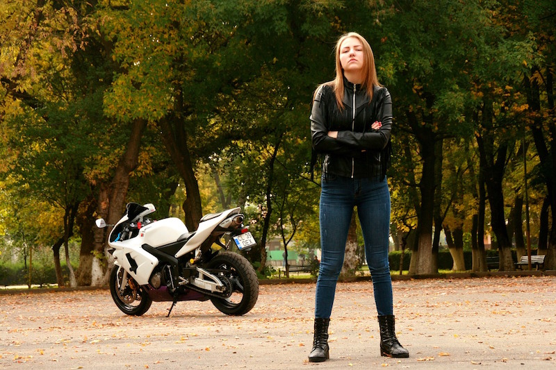 girl wearing leather motorcycle jacket