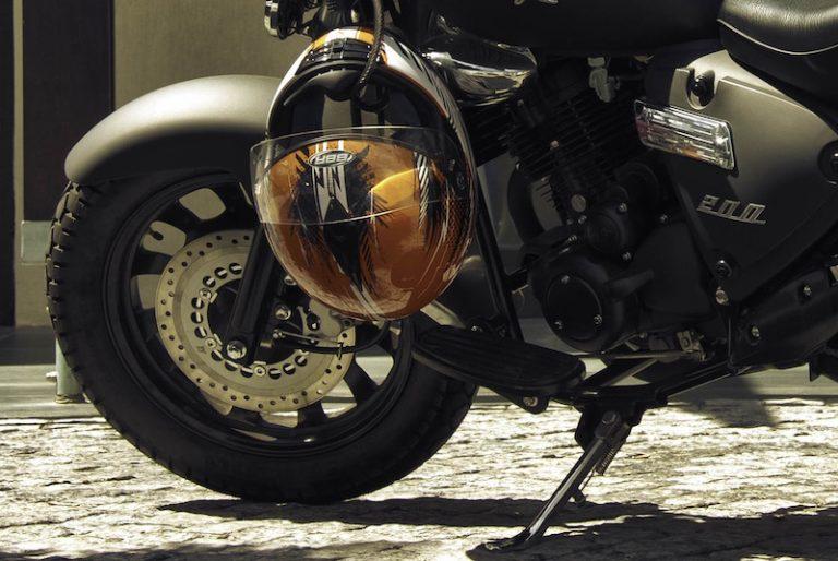 helmet locked to motorcycle