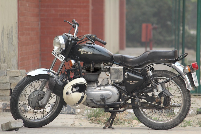 royal enfield with helmet