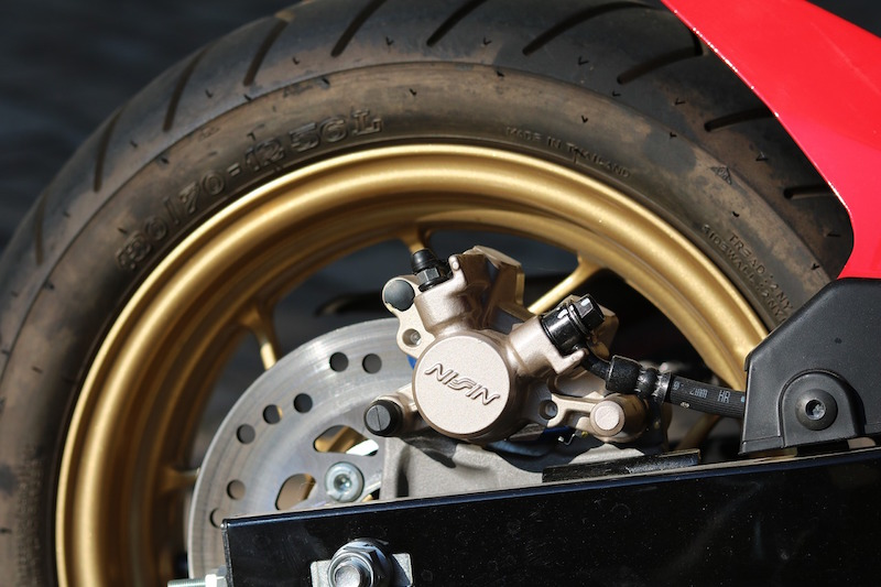 checking motorcycle brake pads