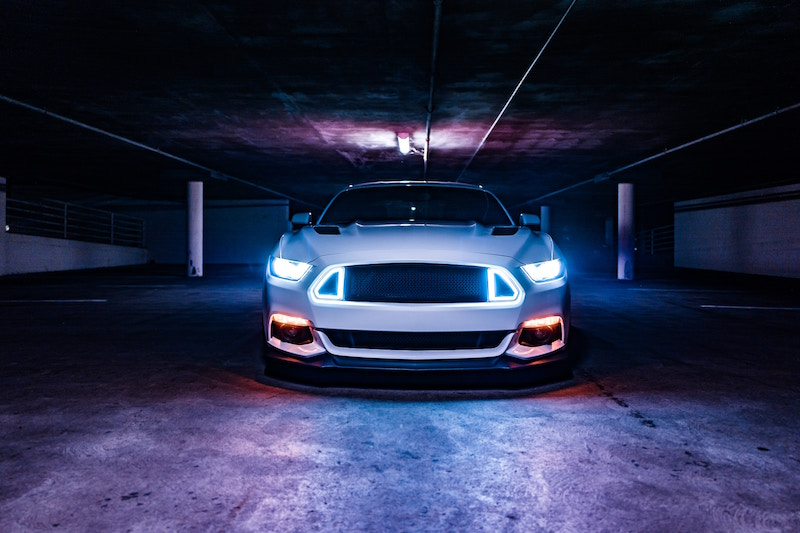 mustang with led headlights