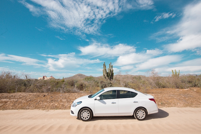 white car in desert