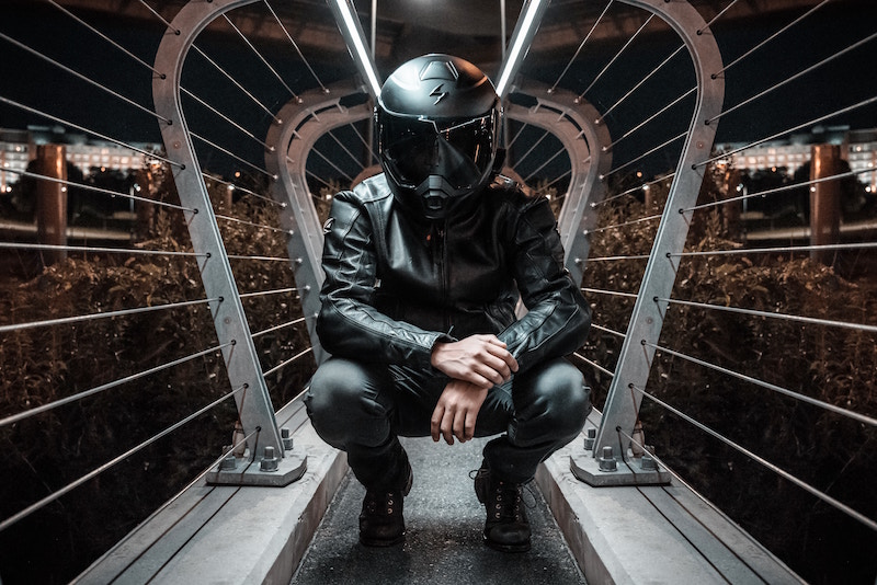 man wearing motorcycle helmet