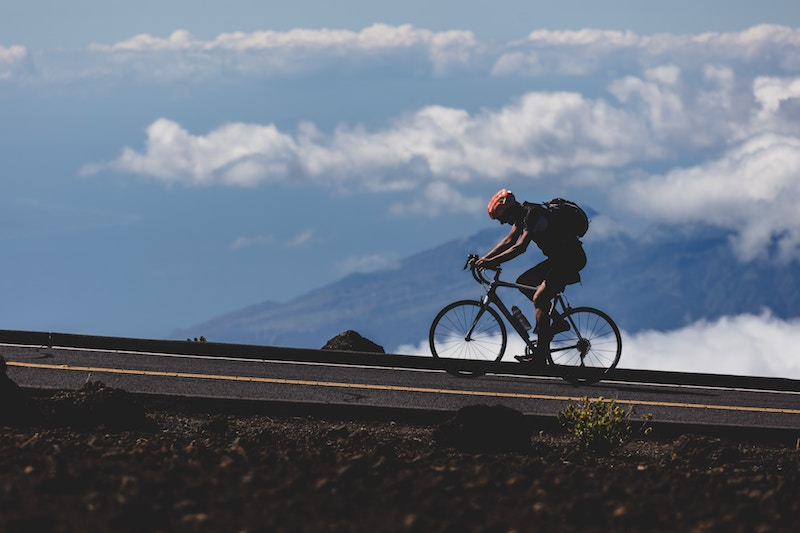 riding bicycle uphill