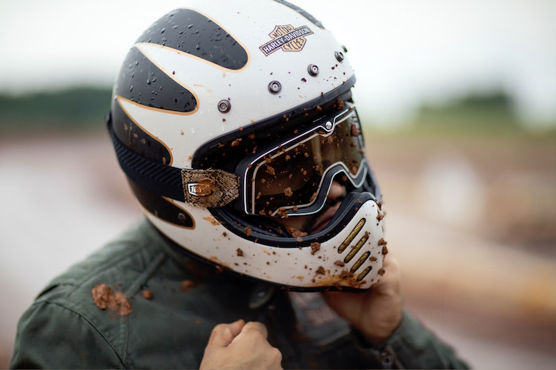 dirty dirt bike helmet