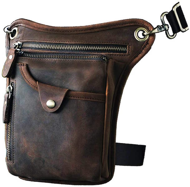 Le'aokuu Leather Motorcycle Leg Bag