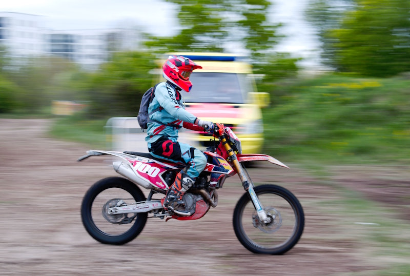 cruising on a dirt bike
