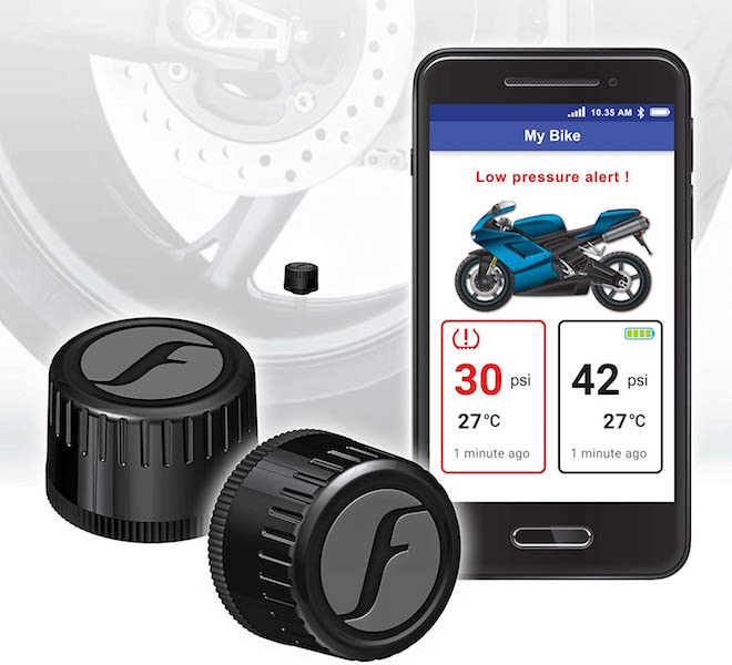 FOBO Bike 2 Tire Pressure Monitoring Systems (Best Motorcycle TPMS Overall)